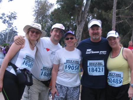 That's me on the left, my hubby Paul and marathon buddies Steph, Simon and Tara.